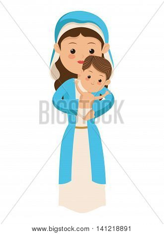 flat design virgin mary carrying baby jesus icon vector illustration