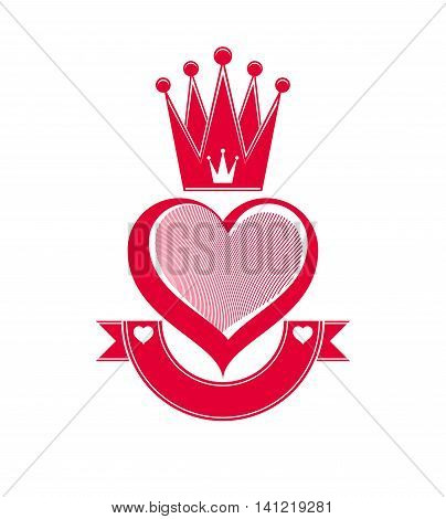 Vector conceptual illustration of loving heart with 3d royal crown.