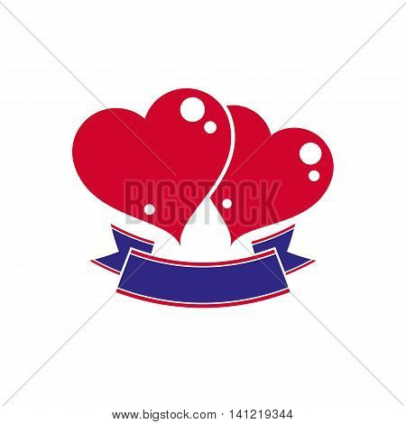 Vector illustration of two red loving hearts with decorative ribbon.