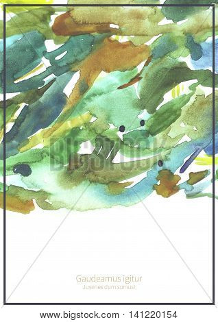 Large grainy illustration with watercolor texture on white watercolor paper with place for text in the bottom and frame. Vertical template for presentation or cover page hand drawn with brush and ink
