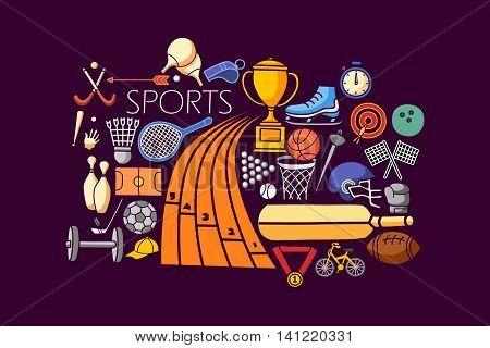 vector illustration of flat line art design of Sports concept