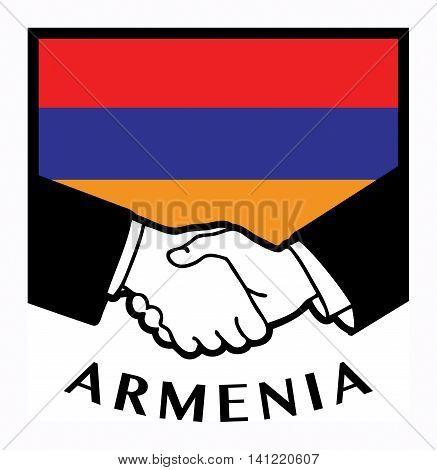 rmenia flag and business handshake, vector illustration