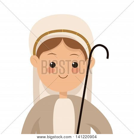 flat design virgin mary icon vector illustration