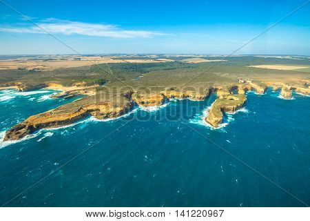 Aerial view of Mutton Bird Island in Loch Ard Gorge on the Great Ocean Road in Victoria, Australia famous attraction of the Port Campbell National Park.