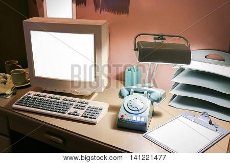Retro Office Desk In Dark Room With Simulator Object.