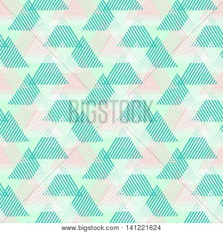 Vector seamless geometric pattern with striped triangles, abstract dynamic shapes in bright colors. Hand drawn background with overlapping lines in 1980s fashion style. Modern textile print in green