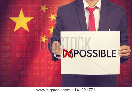 impossible turns to possible. business concept background