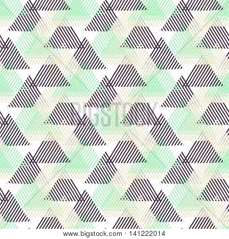 Vector seamless geometric pattern with striped triangles, abstract dynamic shapes in pink, blue white, black colors. Hand drawn background with lines in 1990s fashion style. Modern textile print.