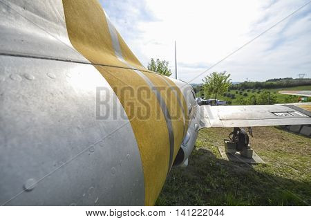 The fuselage of a Polish fighter jet
