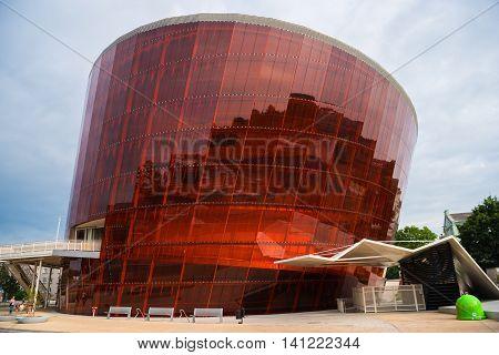 LIEPAJA LATVIA - LULY 24 2016: Music hall in modern architecture style. Glass and metal construction. LIELAIS DZINTARS in Liepaja Latvia