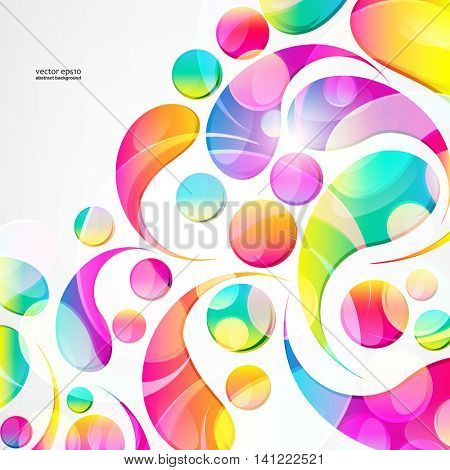Abstract colorful paisley arc-drop pattern on a white background. Transparent colorful drops and circles design card.  Vector illustration.