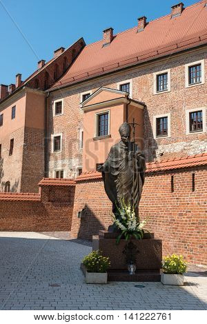 KRAKOW POLAND - July 27 2013 : Statue of Pope John Paul in Krakow Poland