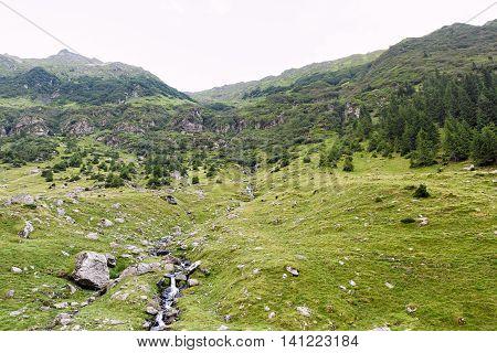 Photo of green capra peak a small river in fagaras mountains Romania.
