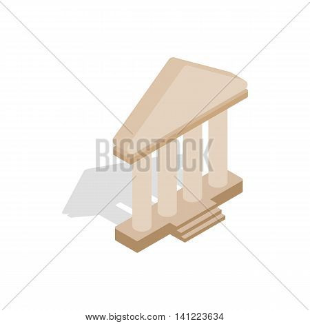 Theatre building icon in isometric 3d style on a white background