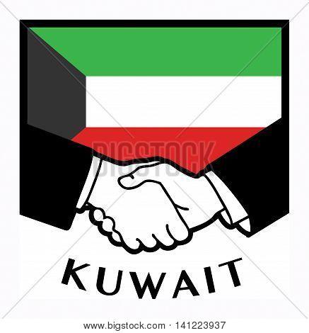 Kuwait flag and business handshake, vector illustration