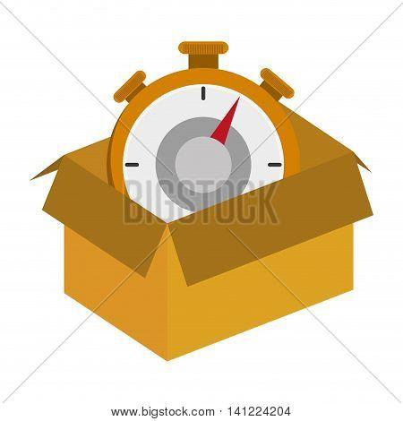flat design cardboard box with chronometer icon vector illustration