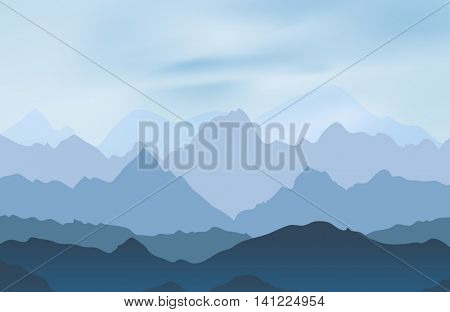 Nature landscape with mountain peaks. Mountains traveling vacation vector background. Concept outdoor design