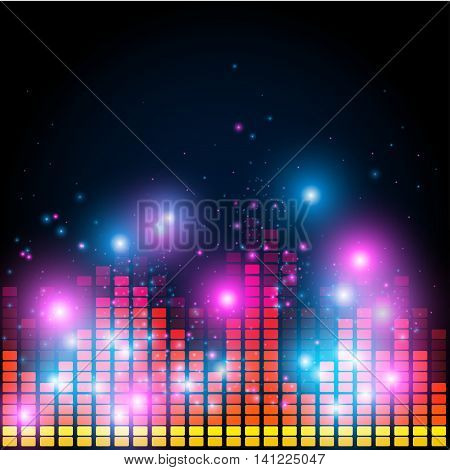 Abstract equalizer, night music club life vector concept