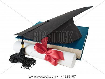 Black graduate hat big blue book and paper scroll tied with red ribbon with a bow isolated on white background