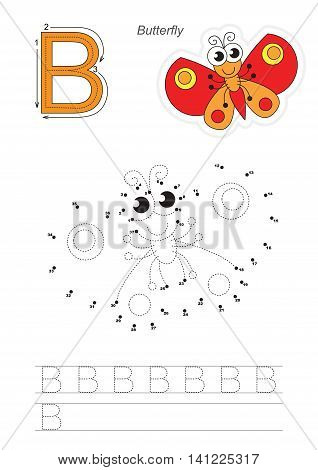 Vector exercise illustrated alphabet. Gaming and education. Learn handwriting. Connect dots by numbers. Easy educational kid game. Simple level of difficulty. Tracing worksheet for letter B. Butterfly.
