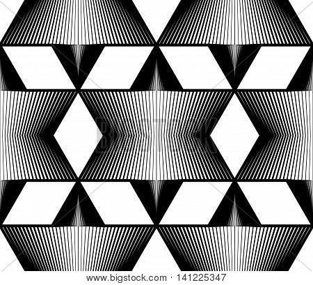Geometric monochrome stripy seamless pattern black and white vector abstract background.