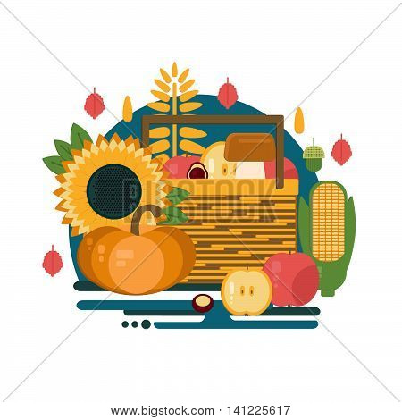Wooden crate with autumn fruits and vegetables. Vector illustration of autumn harvest in flat style. Background with fresh natural foods. Cart with product buy in supermarket. Diet and organic food template.