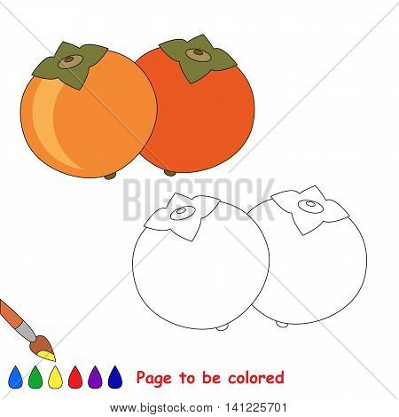 Ripe persimmon to be colored. Coloring book to educate kids. Learn colors. Visual educational game. Easy kid gaming and primary education. Simple level of difficulty. Coloring pages.