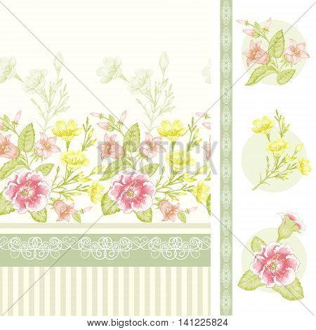 Primroses bluebells spring flowers. Illustration of a floral border with lace and stripes on a white background. Victorian style. Vector. Seamless pattern.