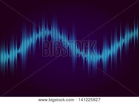Abstract blue colored music equalizer, wave style vector background