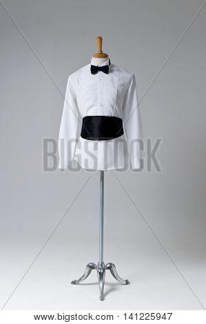 Modern Tuxedo isolated on Grey background .