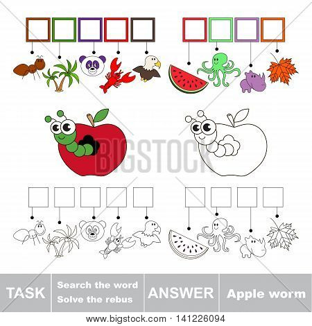 Vector rebus game for children. Easy educational kid game. Simple game level. Find solution and write the hidden word Apple Worm