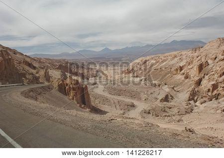 Scenic road to San Pedro de Atacama