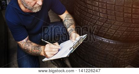 Tyre Shop Garage Service Spare Vehicle Tuning Concept
