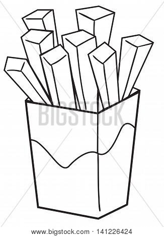 Vector illustration of a french fries in black and white outlined doodle style