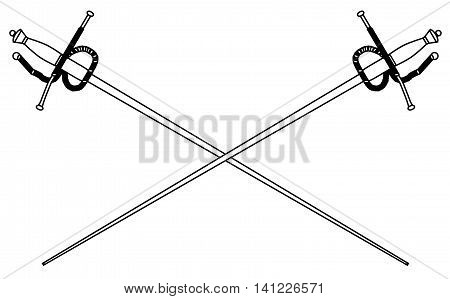 A rapier or fencing foil as used in traditional sword duals all isolated on a white background, Vector