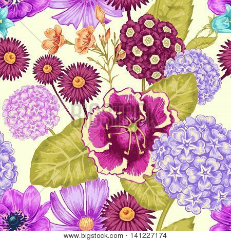 Seamless background for textile paper web tissue. Illustration flowers in the Victorian style. Hydrangea chamomile Cosmos bipinnatus primrose. Vector.