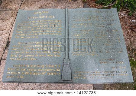 MALACCA MALAYSIA - JUL 16 2016: Stone bible of St. Francis Xavier Church in the morning on July 16 2016 in Malacca Malaysia.