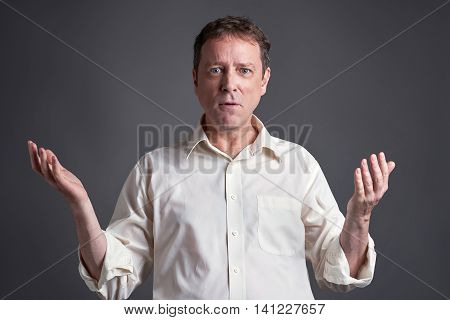 Portrait of a surprised middle age man