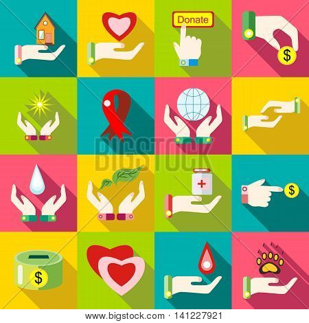 Flat charity icons set. Universal charity icons to use for web and mobile UI, set of basic charity elements vector illustration