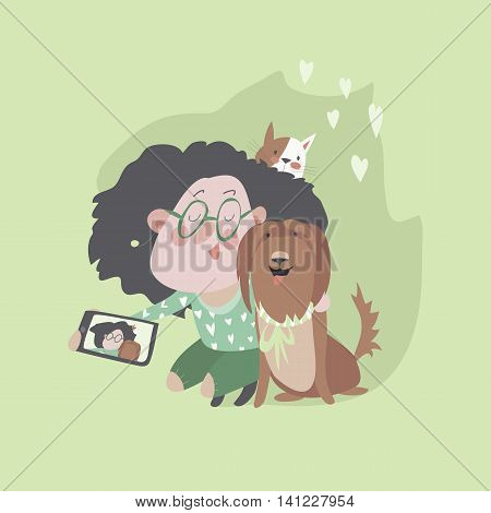 Cute girl with dog and cat makes selfie. Vector illustration
