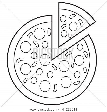 Vector illustration of pizza in black and white outlined doodle style