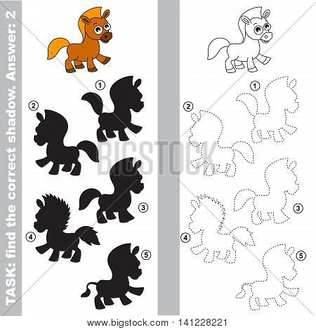The funny horse with different shadows to find the correct one. Compare and connect object with it true shadow. Easy educational kid gaming. Simple level of difficulty. Visual game for children.