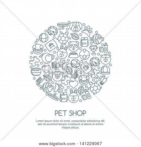 Line Art Illustration Of Cat, Dog, Parrot Bird, Turtle, Snake. Goods For Animals, Vector Outline Ico