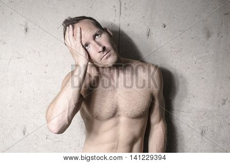 A nice man depress over concrete background