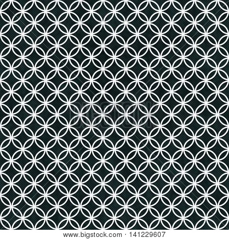 Black and White Circles Tile Pattern Repeat Background that is seamless and repeats, 3D Illustration