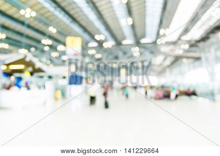 Blurred Background : Traveler At Airport Terminal Blur Background With Bokeh Light,vintage Filter