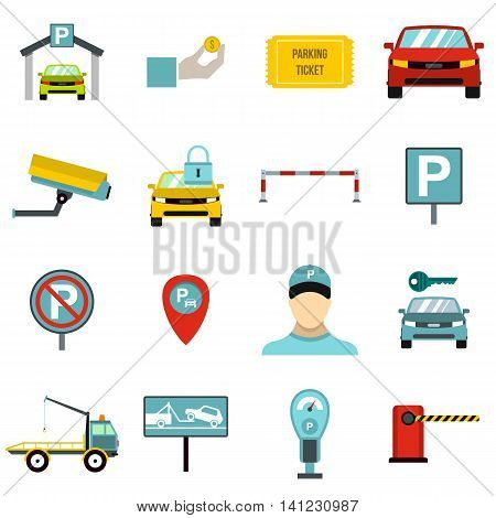 Flat parking icons set. Universal parking icons to use for web and mobile UI, set of basic parking elements isolated vector illustration