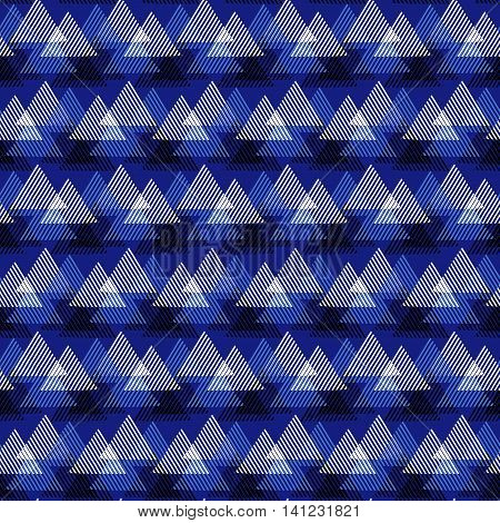 Vector seamless geometric pattern with striped triangles, abstract dynamic shapes in bright colors. Hand drawn background with overlapping lines in 1990s fashion style. Modern textile print in indigo