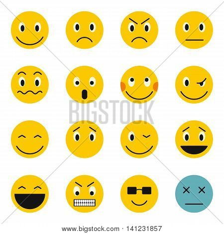 Flat emoticon icons set. Universal emoticon icons to use for web and mobile UI, set of basic emoticon elements isolated vector illustration