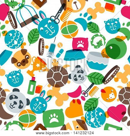 Vector Seamless Pattern With Flat Pets Icons. Goods For Animals.